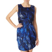 Blue Abstract Print Silk Dress