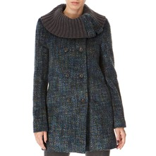 Blue/Multi Knitted Collar Coat