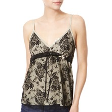Cream/Black Stripe/Lace Silk Camisole Top