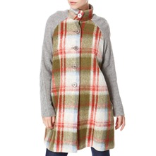Grey/Green/Red Large Check Wool Coat