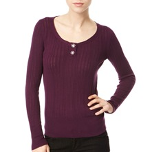 Aubergine Ribbed Cotton Top