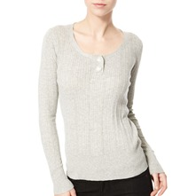 Grey Ribbed Cotton Top