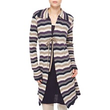Navy/Purple Striped Cashmere/Angora Blend Coatigan