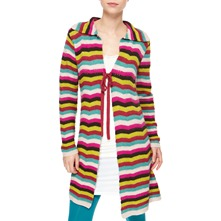 Pink/Multi Striped Cashmere/Angora Blend Coatigan