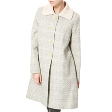 Grey/Cream Knitted Collar Wool Coat