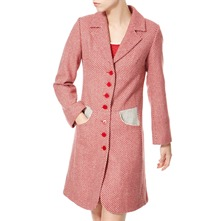 Red/Grey/White Wool Tweed Coat