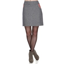 Navy/Red/White Wool Blend Tweed Skirt