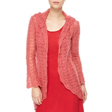 Rose Hooded Angora/Wool Blend Cardigan