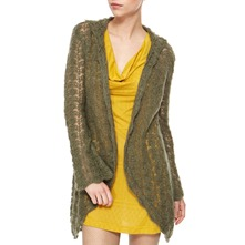 Moss Angora/Wool Blend Hooded Cardigan