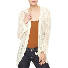 Ecru Angora/Wool Blend Hooded Cardigan