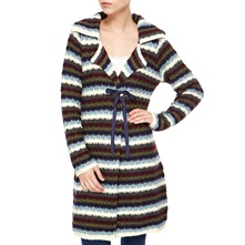 Blue/Multi Striped Wool Blend Coatigan
