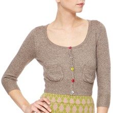 Brown Glitter Cropped Cashmere/Wool Blend Cardigan