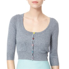 Light Blue Glitter Cropped Cashmere/Wool Blend Cardigan