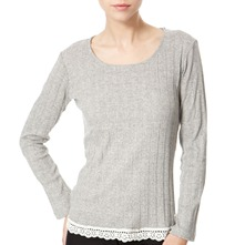 Grey Lace Trimmed Ribbed Top