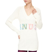 Ecru Long V-Neck Angora/Cashmere Blend Jumper