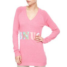 Pink Long V-Neck Angora/Cashmere Blend Jumper