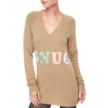 Sand Long V-Neck Angora/Cashmere Blend Jumper