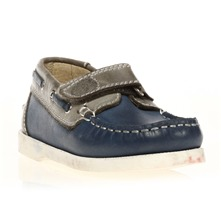 Mocassins en cuir bleu et gris