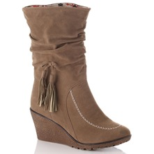 Camel Wedge Calf Length Boots 7.5cm Heel