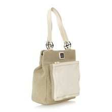 Sac  main kaki et beige