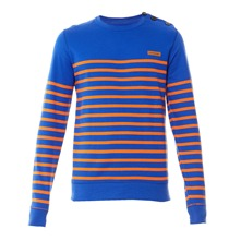 Sweat rayé en molleton encre et orange