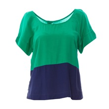 Blouse bicolore vert et marine