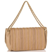 Natural/Golf Zip Stripe Capra Shoulder Bag