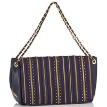Navy/Gold Zip Stripe Borsa Capra Shoulder Bag