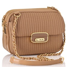 Beige Triple Zip Closure Ottoman Shoulder Bag