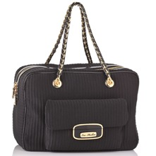 Black Textured Ottoman Box Handbag