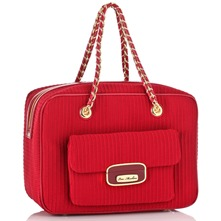 Red Textured Ottoman Box Handbag
