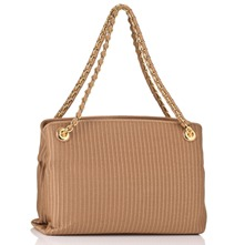 Beige Textured Borso Ottoman Handbag