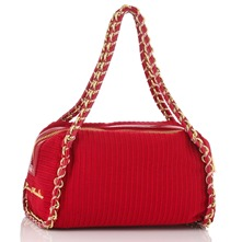 Red Chain Trim Textured Ottoman Handbag