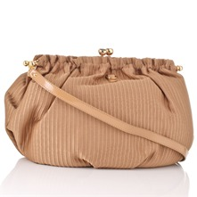 Beige Textured Ottoman Large Clutch Bag