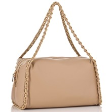 Beige/Gold Chain Trim Nappa Handbag
