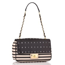 Ivory/Black Stripe and Logo Print Handbag