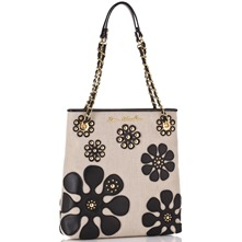Ivory/Black Canvas Flower Print Shopper