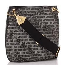Black Logo Print Jacquard Shoulder Bag