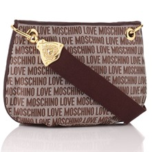 Maroon Logo Print Jacquard Cross Body Bag