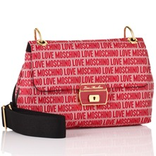 Red Logo Print Jacquard Canvas Strap Shoulder Bag