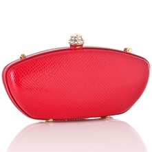 Red Rectangular Clutch Hard Case Bag