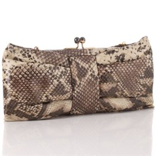 Python Large Bow Clutch Bag