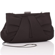 Black Satin Pleated Clutch Bag