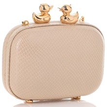 Beige/Gold Square Hard Case Bag