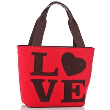 Red/Brown Love Logo Borsa Shopper
