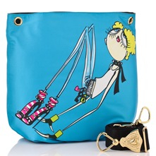 Blue Satin Cartoon Fashion Girl Print Cross Body Bag