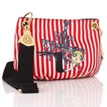 Red/White Striped Satin Cross Body Bag