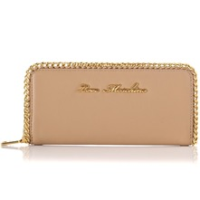Beige/Gold Chain Trim Leather Purse