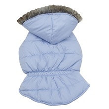 Doudoune  capuche bleue pour chiens moyens