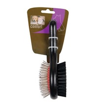 Petite brosse double en bois pour chiens